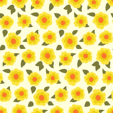 primula: Ditsy floral pattern with small daffodils on yellow background. Illustration