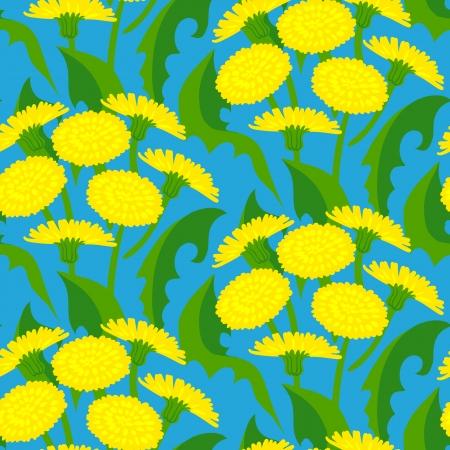 haus garten: Vector nahtlose Blumenmuster mit L�wenzahn Blumen auf dunkelblau. Textur f�r Web, Print, Tapeten, Geschenkpapier, Haus & Garten Dekor, Fr�hling Sommer Mode, Einladungshintergrund, Textildesign Illustration