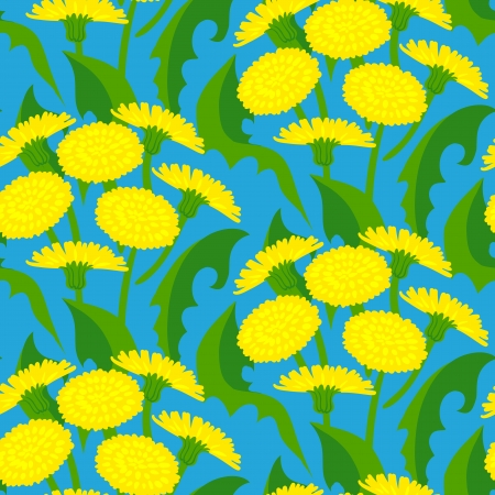 Vector seamless floral pattern with dandelion flowers on dark blue. Texture for web, print, wallpaper, gift wrapping, home & garden decor, spring summer fashion, invitation background, textile design Vector