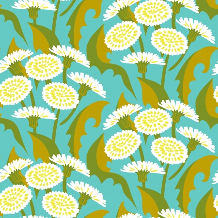 Vector seamless floral pattern with dandelion flowers on turquoise.  Stock Vector - 25188061