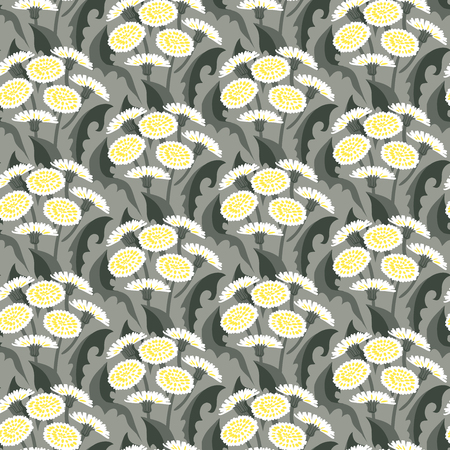 Vector seamless floral pattern with dandelion flowers on grey.  Vector