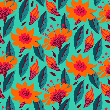 Vector seamless floral pattern with daisy flowers on turquoise. Stock Vector - 25188064
