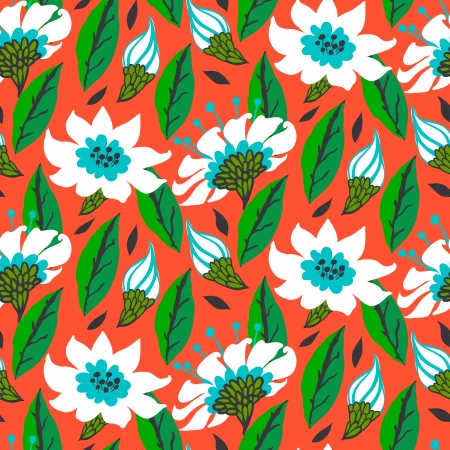 Vector seamless floral pattern with daisy flowers on bright red.  Vector