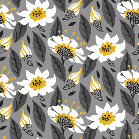 Vector seamless floral pattern with daisy flowers on grey.  Vector