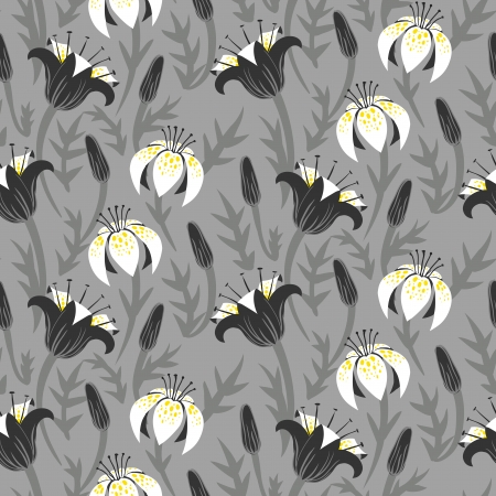 Vector seamless floral pattern with tulips and lilies on grey.  Vector