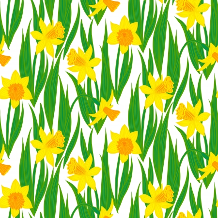 Hand drawn vintage floral pattern with daffodils. Seamless vector texture for print, wallpaper, spring summer fashion, wedding invitation card background, fabric, home textile, soap package design Vector
