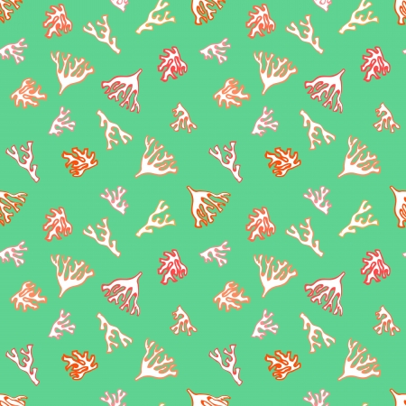Vector seamless nautical pattern with small red colors in tropical green water. Texture for print, fabric, textile, wallpaper, home decor, website background, spring summer fashion, wedding invitation