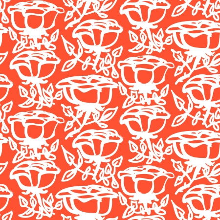 Floral pattern with hand drawn white roses with leaves on coral red. Texture for print, textile, fabric, spring summer fashion, wallpaper, home decor, wedding invitation background, wrapping paper Vector