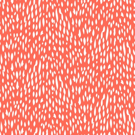 Small ditsy pattern with short hand drawn strokes in coral red color. Seamless texture in hipster style for web, print, fabric, textile, website, invitation card background, summer fall fashion, paper Illustration