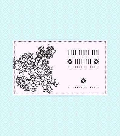 Vector card with lilac on ornamental soft blue background. Template for spa promotion, flower shop gift card, soap package, spring sale coupon, perfume box design, business card, wedding invitation
