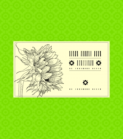 Vector card with sunflower on ornamental green background. Template for spa promotion, flower shop gift card, soap package, spring sale coupon, perfume box design, business card, wedding invitation Ilustracja