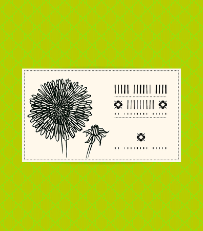 Vector card with dandelion on ornamental green background. Template for spa promotion, flower shop gift card, soap package, spring sale coupon, perfume box design, business card, wedding invitation