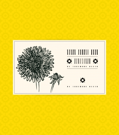 Vector card with dandelion on ornamental yellow background. Template for spa promotion, flower shop gift card, soap package, spring sale coupon, perfume box design, business card, wedding invitation Vector