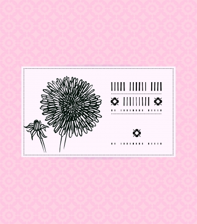 Vector card with aster on ornamental soft pink background. Template for spa promotion, flower shop gift card, soap package, spring sale coupon, perfume box design, business card, wedding invitation Vector