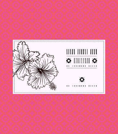 Vector vintage card with hibiscus on tropical coral red background. Template for spa promotion, flower shop gift card, soap package, spring sale coupon, perfume box design, business card, invitation