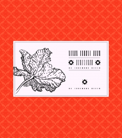Vector card with tulip on ornamental bright red background. Template for spa promotion, flower shop gift card, soap package, spring sale coupon, perfume box design, business card, wedding invitation