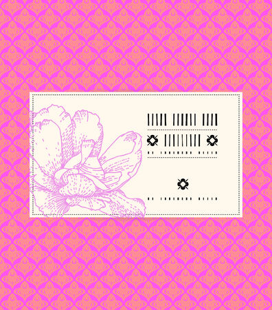 Vector vintage card with peony on romantic pink background. Template for spa promotion, flower shop gift card, soap package, spring sale coupon, perfume box design, business card, wedding invitation Vector