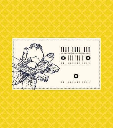 Vector card with peony on ornamental yellow gold background. Template for spa promotion, flower shop gift card, soap package, spring sale coupon, perfume box design, business card, wedding invitation Vector