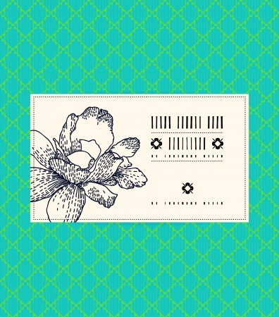 Vector vintage card with peony on tropical aqua green background. Template for spa promotion, flower shop gift card, soap package, spring sale coupon, perfume box design, business card, invitation Vector