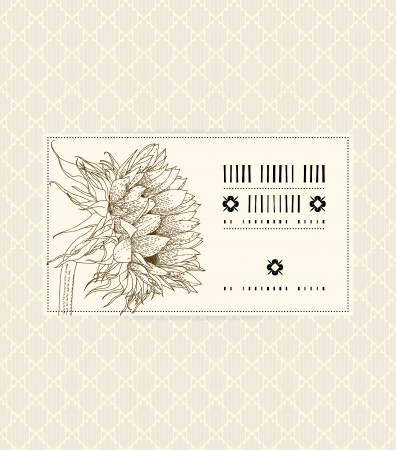 Vector vintage card with sunflower on soft beige background. Template for spa promotion, flower shop gift card, soap package, spring sale coupon, perfume box design, business card, wedding invitation