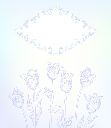Vector card with hand drawn tulips on light blue background. Template for spa promotion, flower shop gift card, soap package, spring sale coupon, perfume box design, thank you note, wedding invitation Vector