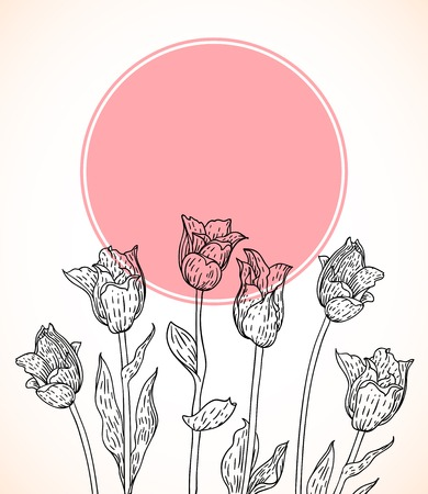 Vector card with hand drawn tulips on pink circle. Template for spa promotion, flower shop gift card, web banner, spring sale coupon, perfume box design, thank you note, wedding invitation background Vector