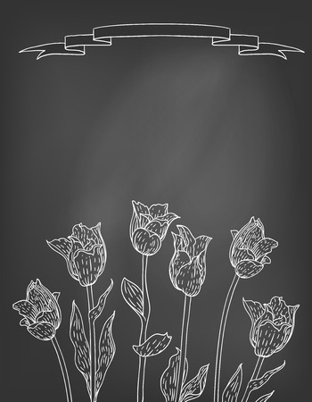 Hand drawn vector illustration of tulips on blackboard. Template for coffee shop spring menu, tea house, organic products, natural herbs, aroma therapy, perfume, caffeine free or organic product Illustration