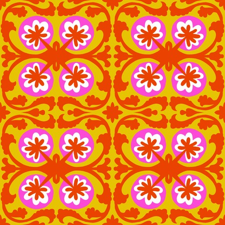 Suzani, vector seamless ethnic pattern with Uzbek, Turkish and Kazakh motifs. in bright vibrant colors. Texture for web, print, wallpaper, home decor, summer fall fashion textile, fabric, ceramic tile Vector