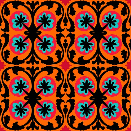 ceramic tile: Suzani, vector seamless ethnic pattern with Uzbek, Turkish and Kazakh motifs. in bright vibrant colors. Texture for web, print, wallpaper, home decor, summer fall fashion textile, fabric, ceramic tile