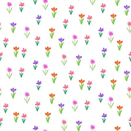 early spring: Grunge floral vector pattern with small hand drawn flowers. Seamless texture for web, print, wallpaper, home decor, spring summer fashion textile, fabric, wrapping paper or invitation card background