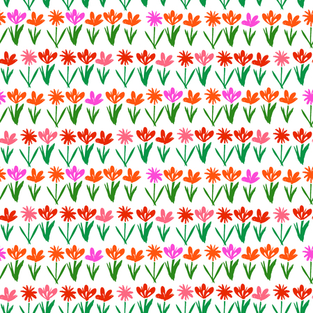 Grunge floral vector pattern with small hand drawn flowers. Seamless texture for web, print, wallpaper, home decor, spring summer fashion textile, fabric, wrapping paper or invitation card background Vector