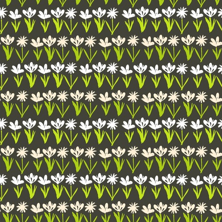 Grunge floral vector pattern with small hand drawn flowers. Seamless texture for web, print, wallpaper, home decor, spring summer fashion textile, fabric, wrapping paper or invitation card background