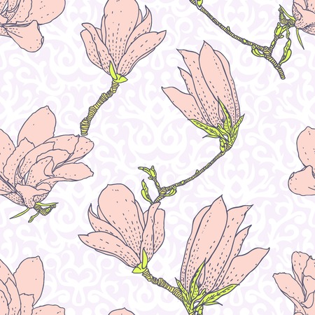 bohemian: Vintage vector pattern with pink magnolia flowers on white damask background  Seamless texture for web, print, wallpaper, textile, fabric, spring summer fashion, wedding invitation card, home decor