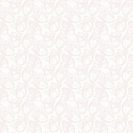 Vintage floral pattern with white hand drawn tulips on pale background  Seamless vector texture for web, print, wallpaper, textile, fabric, spring summer fashion, wedding invitation card, home decor Vector