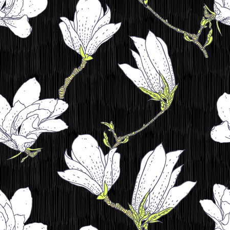 Vintage vector pattern with white magnolia flowers on black background  Seamless texture for web, print, wallpaper, textile, fabric, spring summer fashion, wedding invitation card, home decor Ilustracja