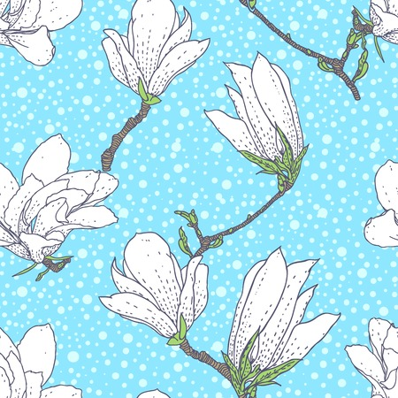 ivy vine: Vintage vector pattern with magnolia flowers on soft blue background  Seamless texture for web, print, wallpaper, textile, fabric, spring summer fashion, wedding invitation card, baby room decor