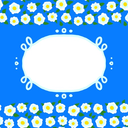 Vector card with floral seamless frame   border made of small white flowers and copyspace on bright blue  Template for flower shop gift card, spring sale coupon, perfume box design, wedding invitation Vector