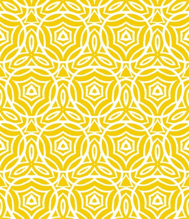 motifs: Vintage art deco pattern with curved lines, forms and shapes that creates a crochet look on yellow. Texture for print, wallpaper; wedding invitation background; spring, summer fashion; fabric, textile Illustration