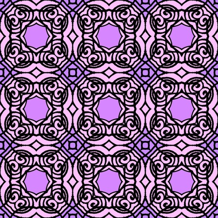 Vintage vector art deco pattern in black and purple. Seamless texture for web; print; wallpaper; luxury invitation card or website background; summer, fall or winter fashion; fabric or textile