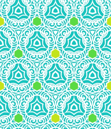 Bright modern vector pattern in tropical blue and green in hipster style with lines and geometric shapes. Texture for print, wallpaper; invitation background; spring, summer fashion; fabric, textile Ilustracja