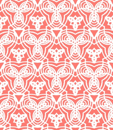 Vintage vector art deco pattern in coral red and white. Seamless texture for web; print; wallpaper; wedding invitation or website background; spring, summer or fall fashion; fabric or textile Vector