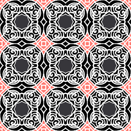 Vintage vector art deco pattern in black, white and pink. Seamless texture for web; print; wallpaper; luxury invitation card or website background; summer, fall or winter fashion; fabric or textile