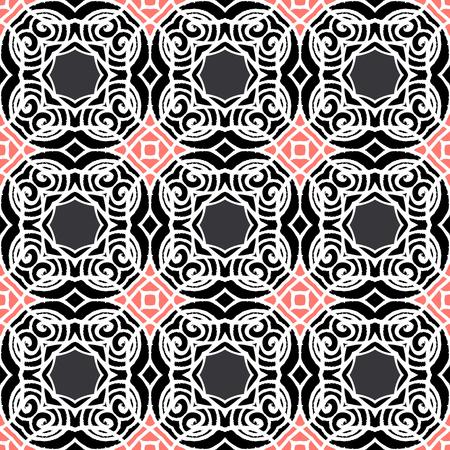 wintermode: Vintage-Vektor-Art-Deco-Muster in schwarz, wei� und rosa. Nahtlose Textur f�r Web-, Print-, Tapeten, Luxus-Einladungskarte oder eine Website Hintergrund, Sommer, Herbst oder Winter-Mode, Stoff-oder Textil