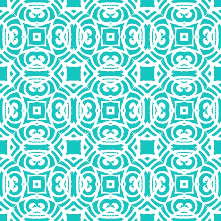 Vintage vector art deco pattern in tropical aqua blue color. Seamless texture for web; print; wallpaper; wedding invitation or website background; spring, summer or fall fashion; fabric or textile Vector