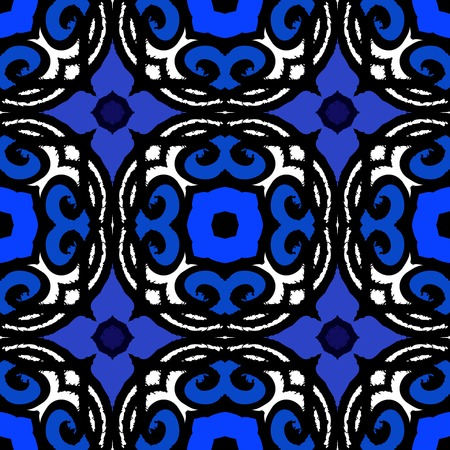 Vector ethnic pattern with Kazakh, Moroccan and Turkish motifs in indigo blue. Texture for web, print, wallpaper, home decor, fall summer fashion, website or oriental restaurant menu background Vector
