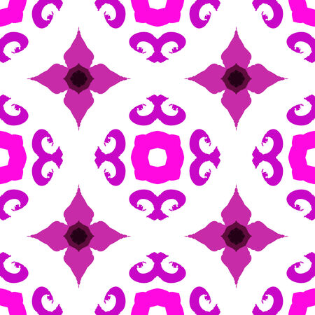 Vector ethnic pattern with Indian, Moroccan and Turkish motifs in white and pink. Texture for web, print, wallpaper, home decor, fall summer fashion, website or oriental restaurant menu background Illustration
