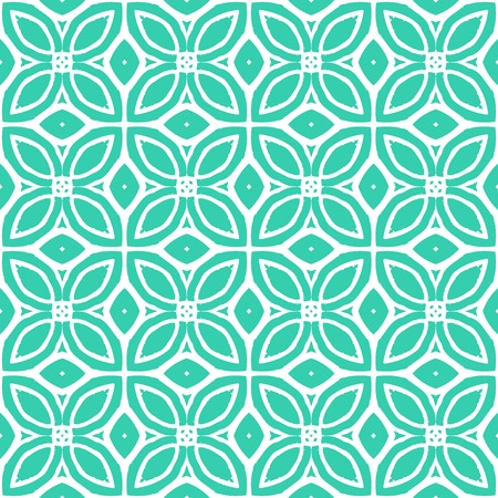 Vintage vector art deco pattern with 1970s motifs in tropical blue and white colors. Seamless texture for print; wallpaper; wedding invitation or website background; spring, summer or fall fashion