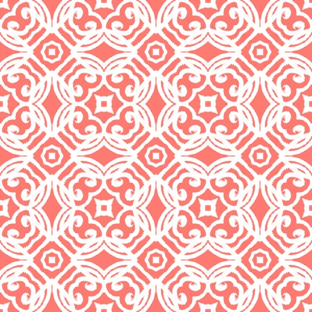 Vintage vector art deco pattern in coral red and white. Seamless texture for web, print, wallpaper, wedding invitation or website background, spring, summer or fall fashion, fabric or textile