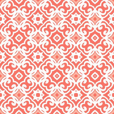 artdeco: Vector geometric art deco pattern with lacing shapes in coral pink and white. Luxury texture for print, website background, decor in 1930 style, wrapping paper, spring summer fashion. textile, fabric Illustration