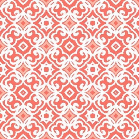Vector geometrische art deco patroon met vetersluiting vormen in koraal roze en wit. Luxe textuur voor drukwerk, website achtergrond, decor in 1930 stijl, inpakpapier, lente zomer mode. textiel, stof Stock Illustratie